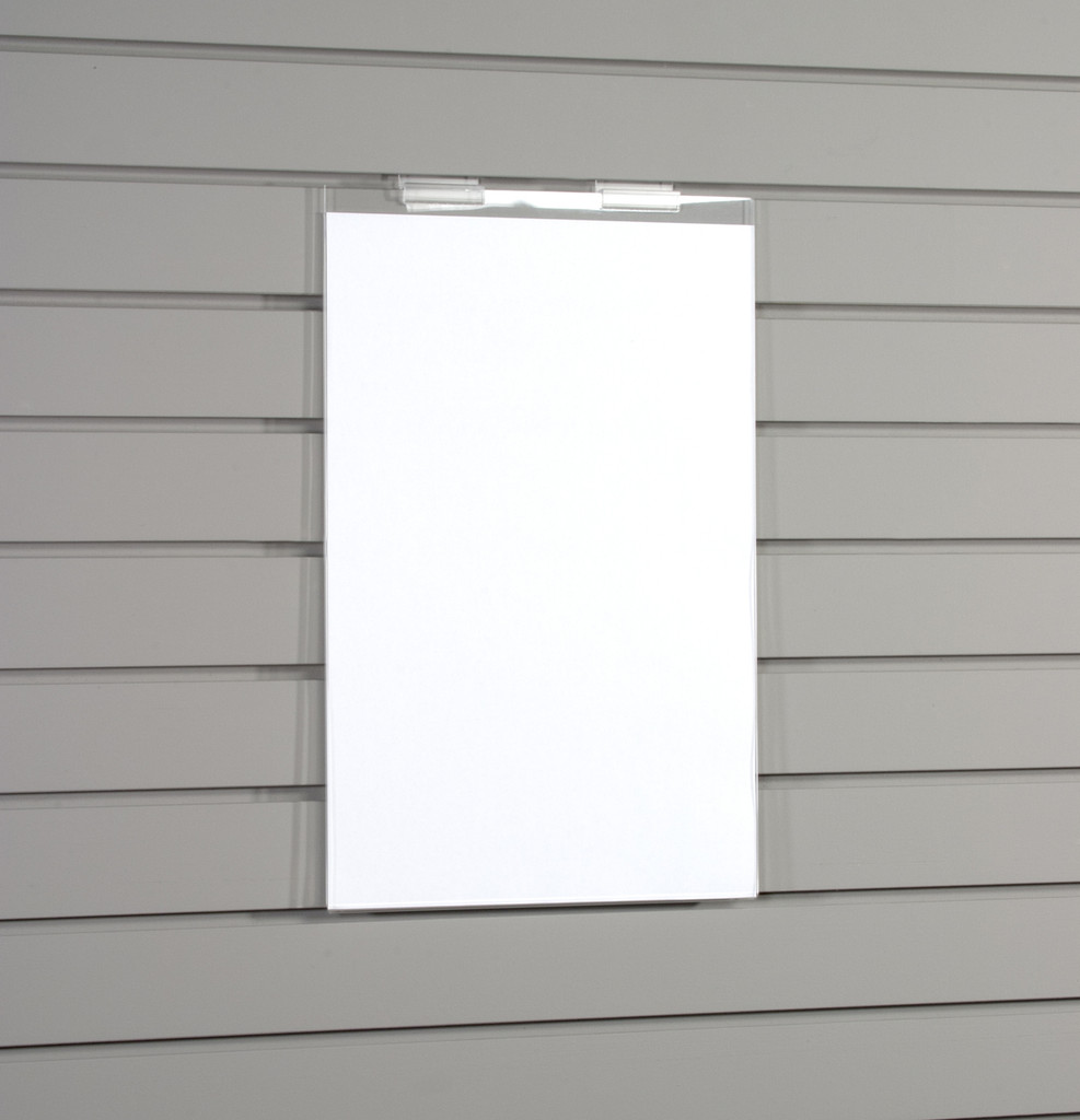 """Easy side loading, ready to hang on slatwall, and made of crystal clear acrylic, this frame holds an 11"""" x 14"""" vertical sign or one page calendar."""