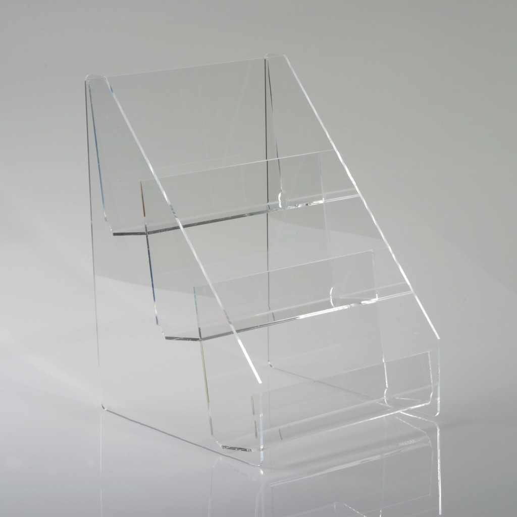 """9"""" Wide Three Tier Clear Acrylic Countertop Display, Clear Solutions"""