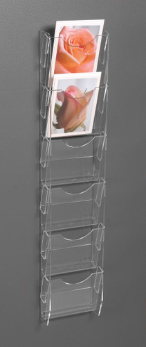 Clear acrylic wall mounted postcard/ greeting card rack with six pockets 8524.