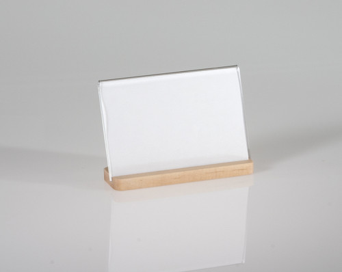 """Attractive photo sized clear acrylic frame features an elegant maple base. 6"""" x 4"""" Horizontal"""