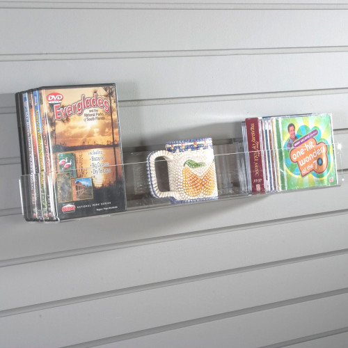 This flat bottom shelf made from high quality polished acrylic easily and sturdily fits onto any preexisting slatwall.