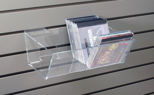 Clear acrylic shelf for slatwall- good for CDs, DVDs, books.