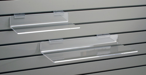 Clear acrylic flat shelf for slatwall.