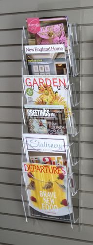 Clear acrylic magazine ladder for slatwall.