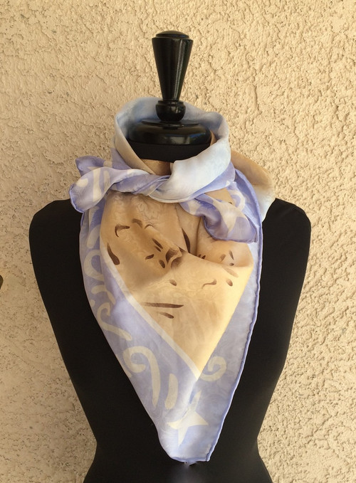 Blake Blue Silk Scarf with Bucking Horse