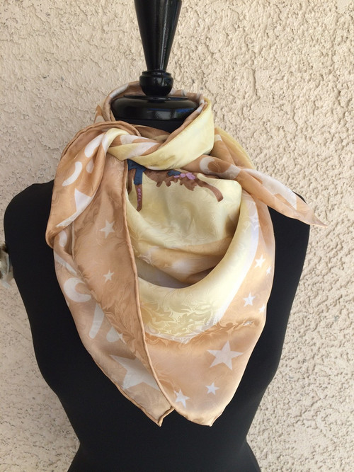 Blake Tan Silk Scarf with Bucking Horse