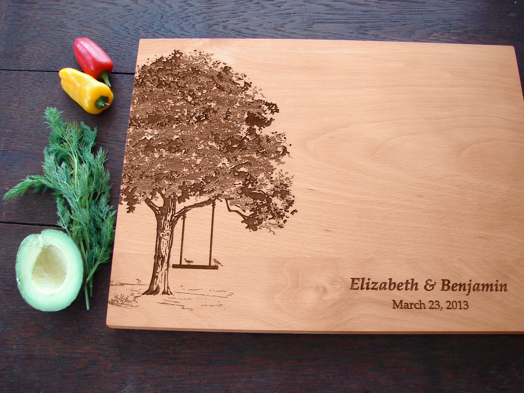 Engraved tree with swing cutting board from TheCuttingBoardShop