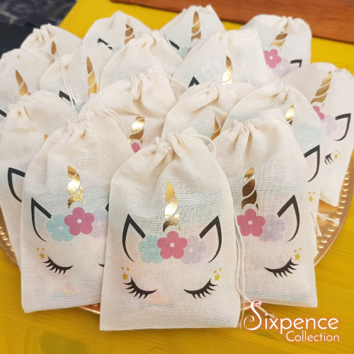 Unicorn Party favour bags with Gold Foil Horn