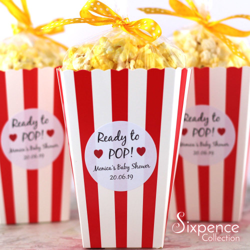 Ready to Pop! Personalised Baby Shower Favour White Stickers