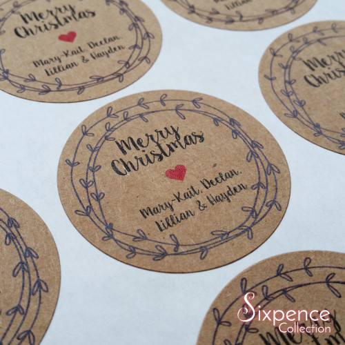 Christmas gift labels, kraft brown or matte white stickers