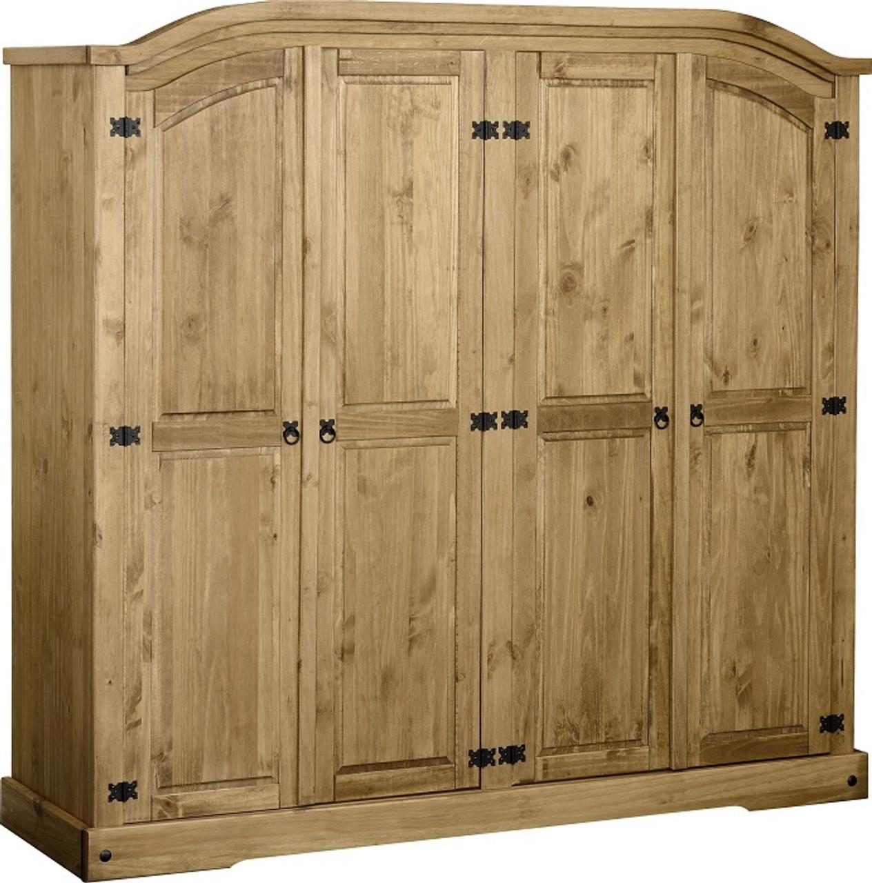 Corona 4 Door Wardrobe in Distressed Waxed Pine