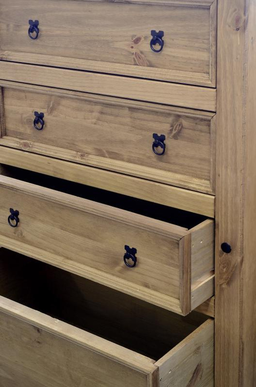 Corona 4 Drawer Chest in Distressed Waxed Pine