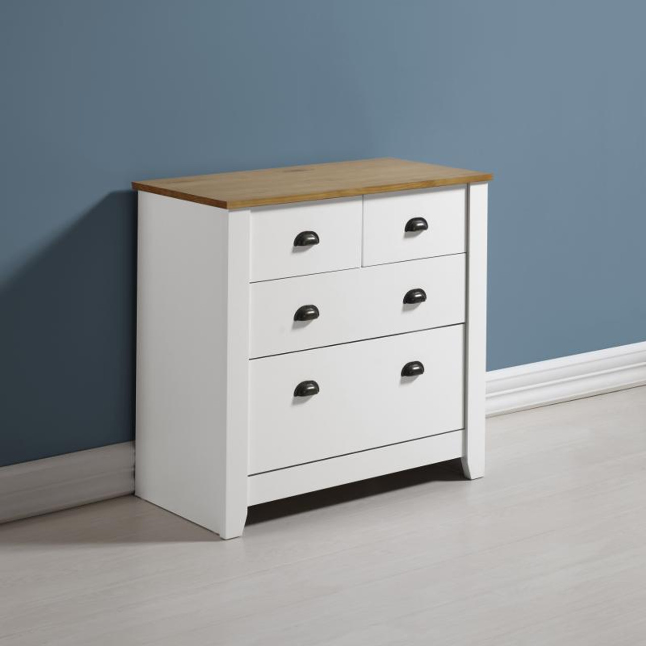 Ludlow 2+2 Drawer Chest in White/Oak