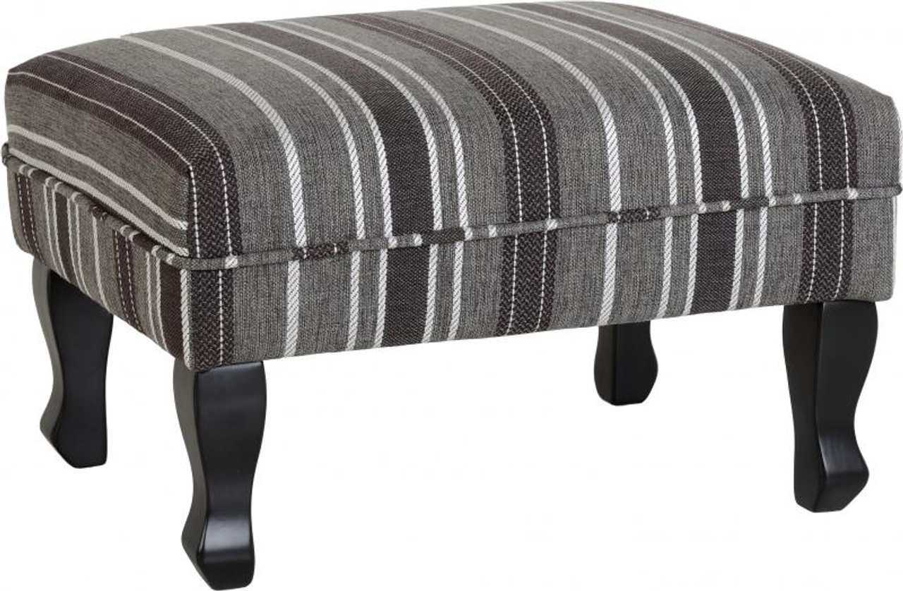 Sherborne Footstool in Grey Stripe