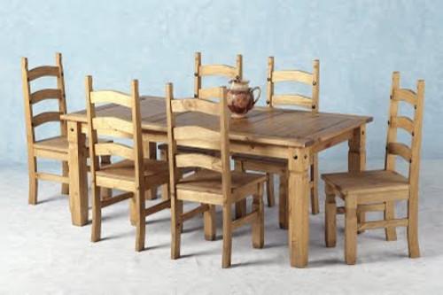 Corona Dining Set 6' in Distressed Waxed Pine