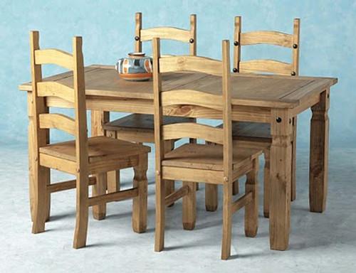Corona Dining Set 5' in Distressed Waxed Pine