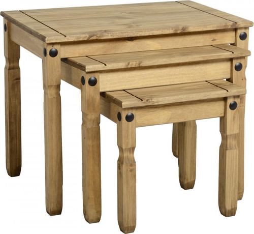 Corona Nest of Tables in Distressed waxed Pine