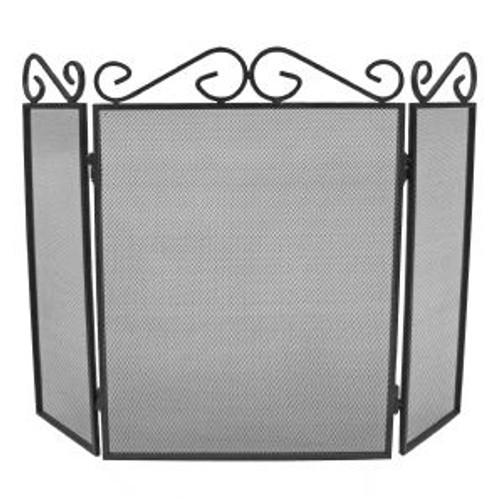 3 Fold Scroll Top Fireguard Black 58cm