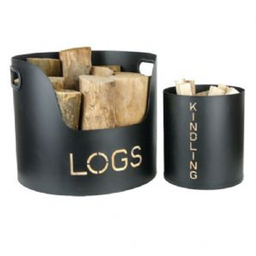 Log & Kindling Tub Set Black