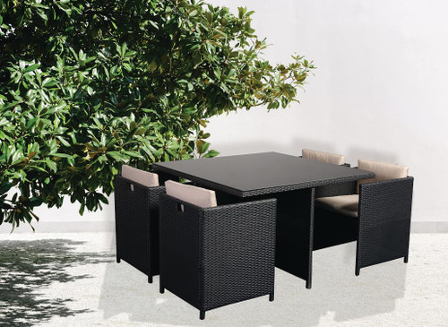 Siena Rattan Effect 4 Seater Cube Patio Set  -  LOCAL DELIVERY ONLY