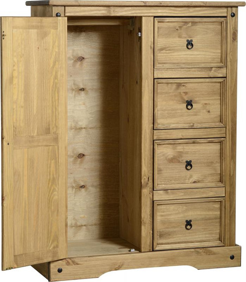 Corona 1 Door 4 Drawer Low Wardrobe in Distressed Waxed Pine