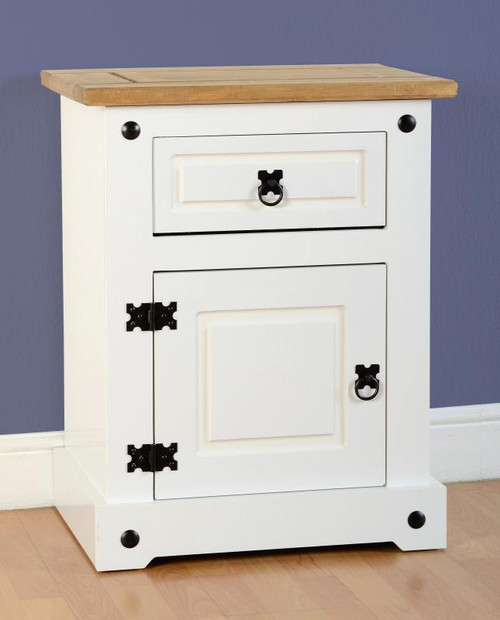 Corona 1 Door 1 Drawer Bedside Chest in White