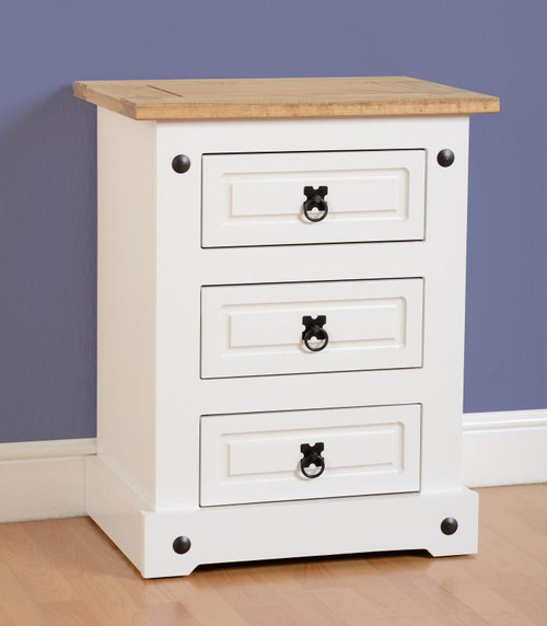 Corona 3 Drawer Bedside Chest in White