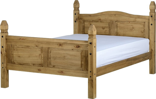 Corona Mexican Bed 4ft 6 in Distressed Waxed Pine