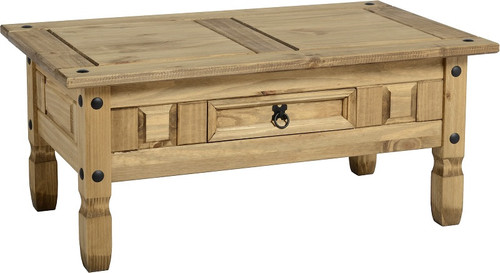 Corona Coffee Table with 1 Drawer in Distressed Waxed Pine