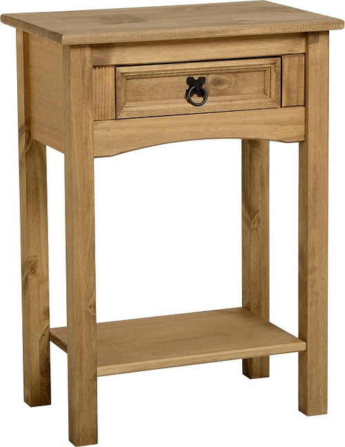 Corona Console Table 1 Drawer with Shelf in Distressed Waxed Pine