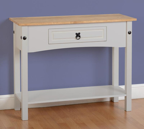 Corona Console Table 1 Drawer with Shelf in Grey