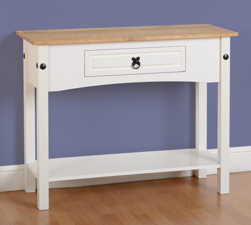 Corona Console Table 1 Drawer with Shelf in White