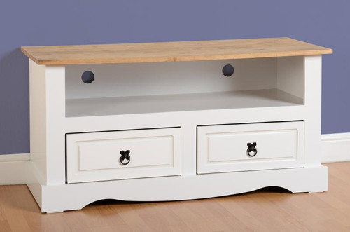 Corona Flat Screen TV Unit in White