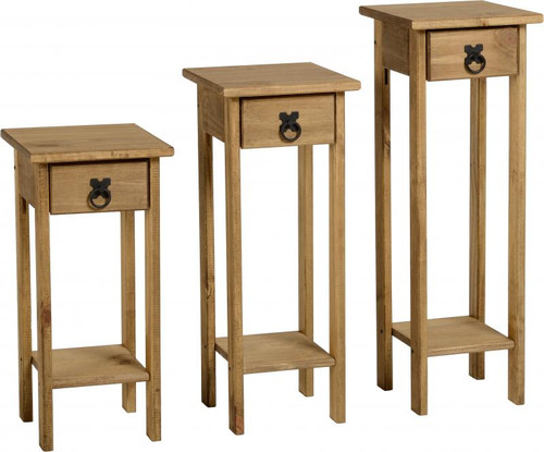 Corona Plant Stand Set of 3 in Distressed Waxed Pine