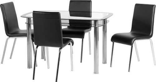 Harlequin 4' Dining Set in Clear Glass/Black Border/Black Faux Leather