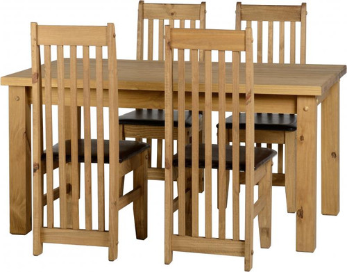 """Tortilla 4' 9"""" Dining Set in Distressed Waxed Pine/Brown Faux Leather"""