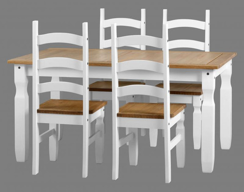 Corona 5ft Dining Set in White/Distressed Waxed Pine