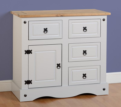 Corona 1 Door 4 Drawer 3ft Sideboard in Grey/Distressed Waxed Pine