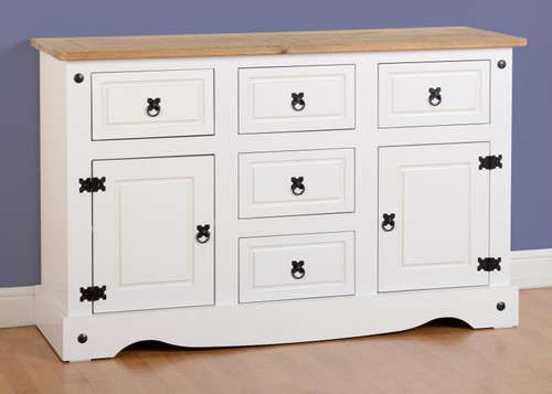 Corona 2 Door 5 Drawer 4ft Sideboard in White/Distressed Waxed Pine