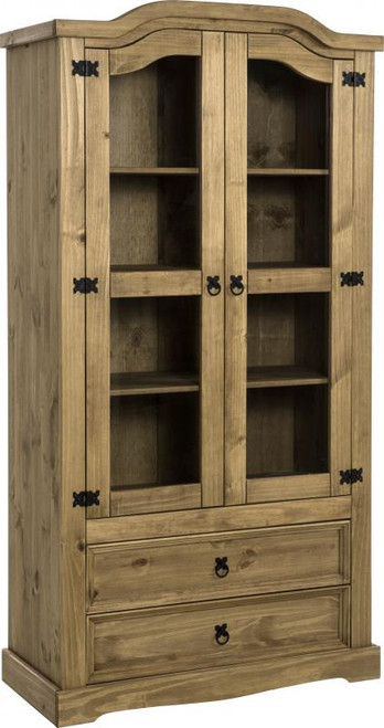 Corona 2 Door 2 Drawer Glass Display Unit in Distressed Waxed Pine