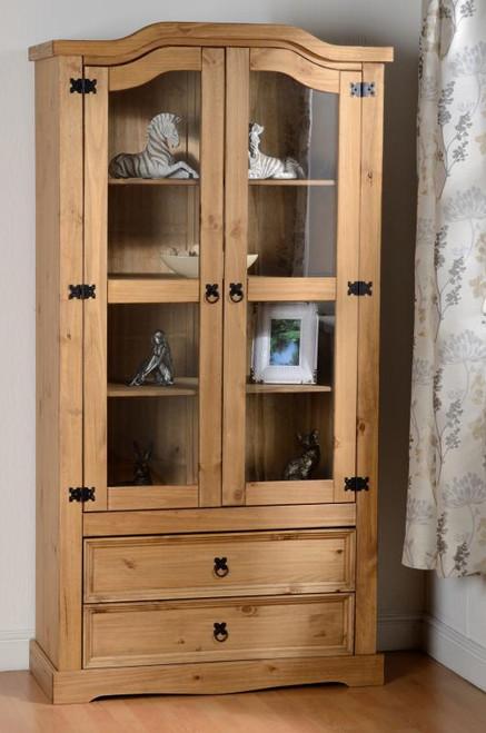 Corona 2 Door 2 Drawer Glass Display Unit in Distressed Waxed Pine