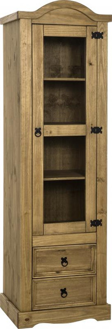 Corona 1 Door 2 Drawer Glass Display Unit in Distressed Waxed Pine