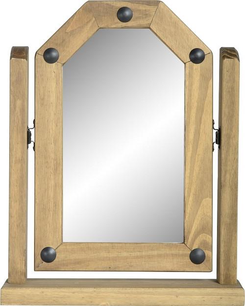 Corona Single Swivel Mirror in Distressed Waxed Pine