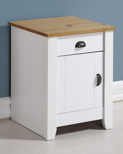Ludlow 1 Door 1 Drawer Bedside Chest in White/Oak Lacquer