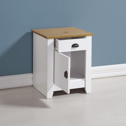 Ludlow Bedside Chest in White/Oak Lacquer