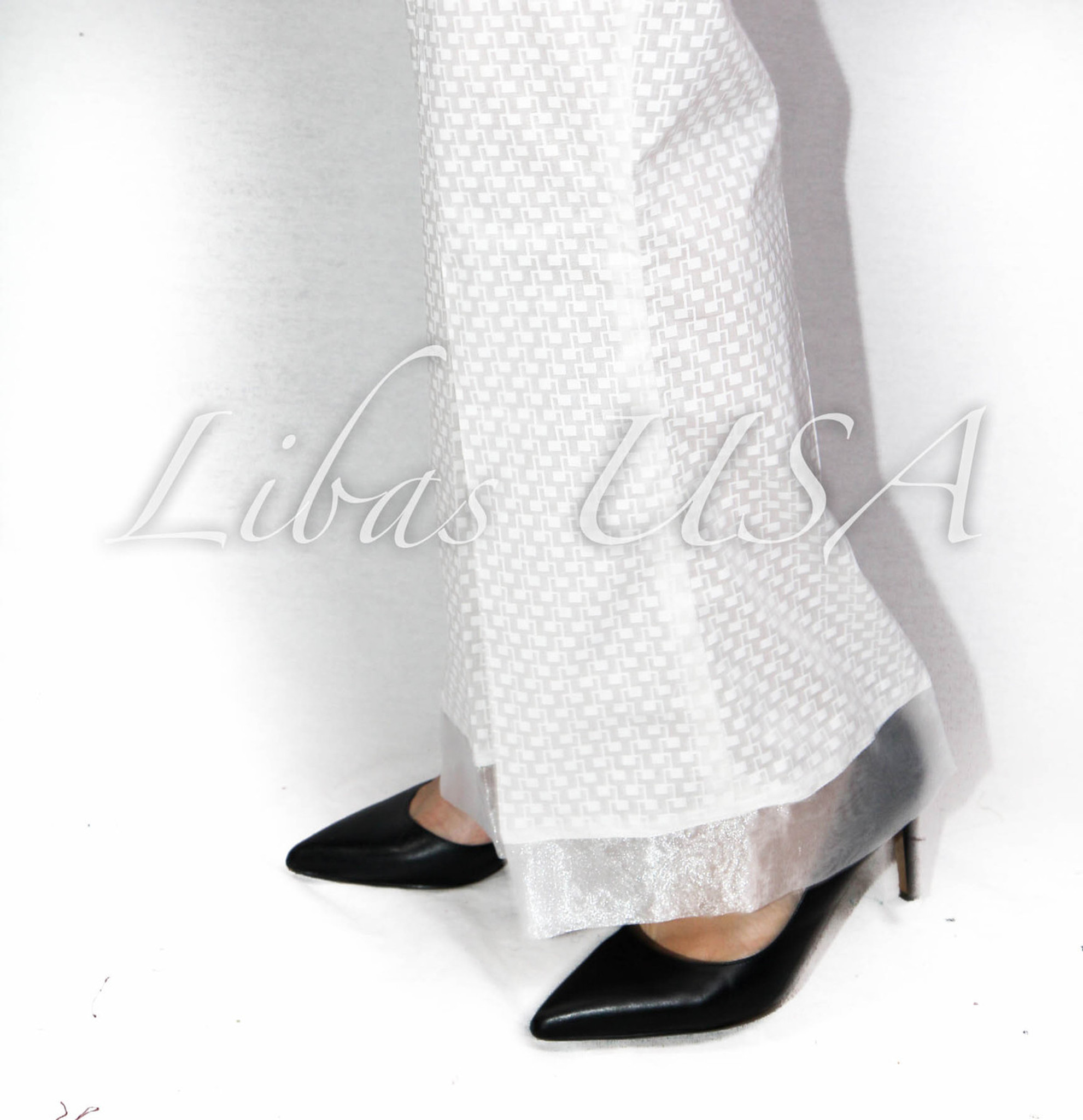 White Self flare print pant with organza border