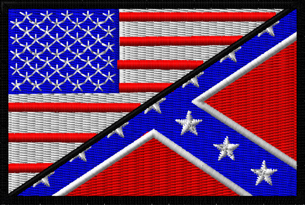 rebel confederate flag and usa flag morale patch