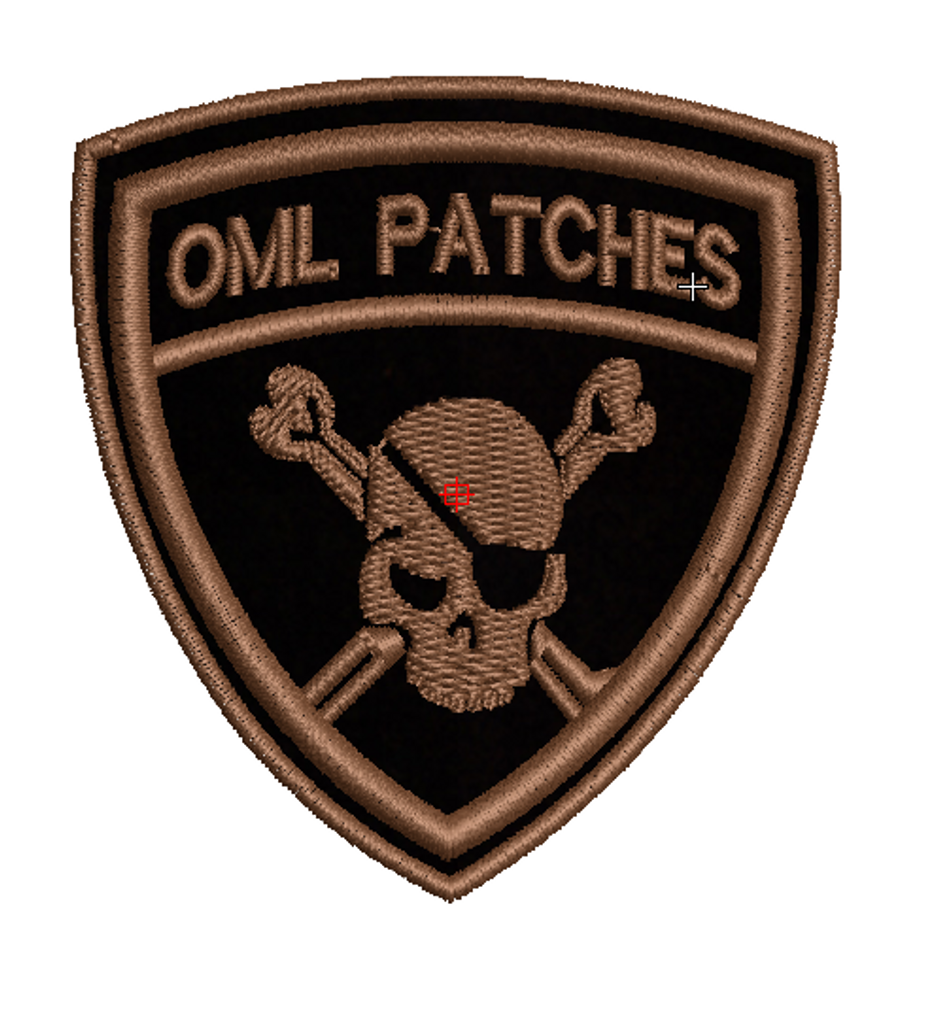 Team Template Pirate Patch in black with custom brown thread (standard thread color is silver/grey)