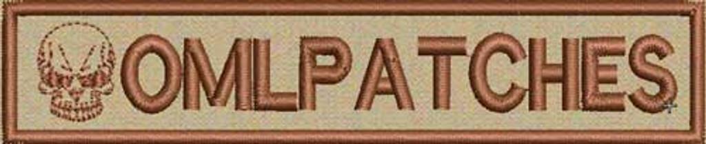 merrowed nametape with skull on tans