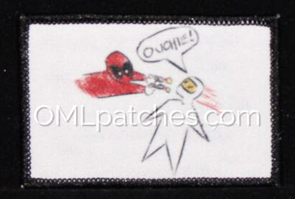 Deadpool Ouchie Morale Patch printed with white background